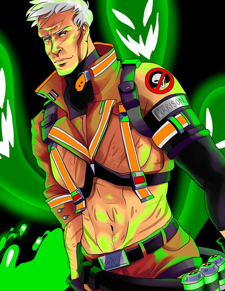 Soldier 76 as a Sexy Ghostbuster (no mask edition) by @sburban-mom